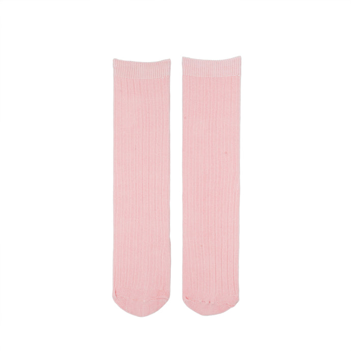 Pastel Pink Ribbed Knee Socks