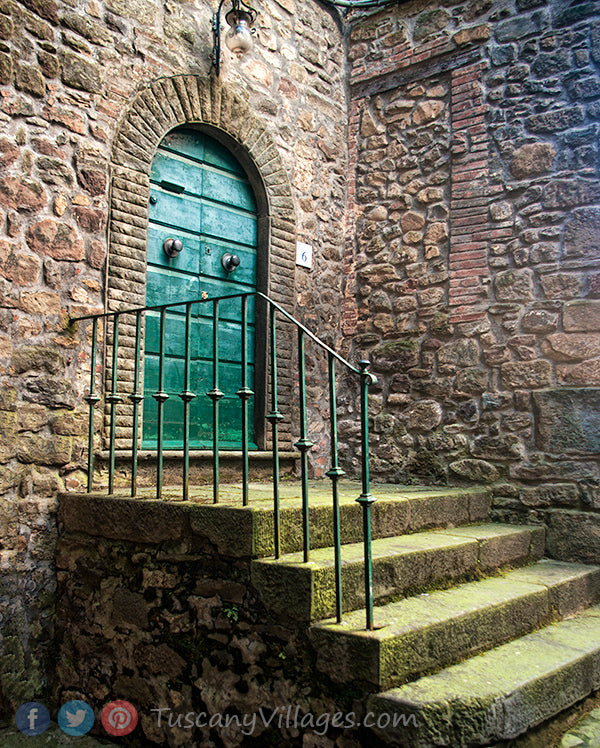 Mossy green steps and old green door, San Quirico
