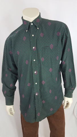 Vintage Britches Great Outdoors Green/Pink Pattern Shirt Size L