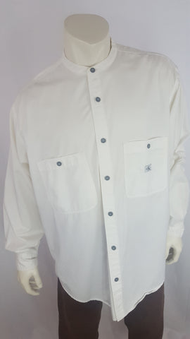 Calvin Klien White Long Sleeve Button Up, No Collar, Size XL
