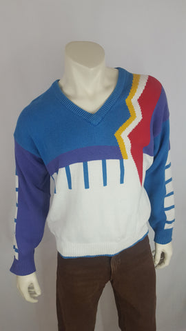Colorful Vintage V-Neck Sweater with Abstract Design by TAiL