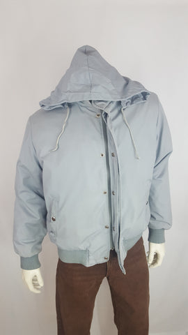 Vinatge Deep North Light Gray Zipper Jacket with Hidable Hood