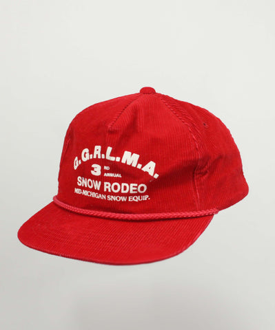 Vintage 80s/90s Snow Rodeo Red Corduroy Hat - Steeze Clothing