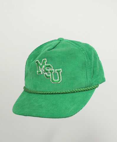 Vintage MSU Michigan State Green Corded Corduroy Hat - Steeze Clothing