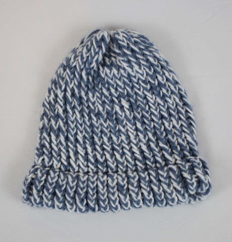 Hand Knit Light Blue Winter Hat Fits XS - Steeze Clothing
