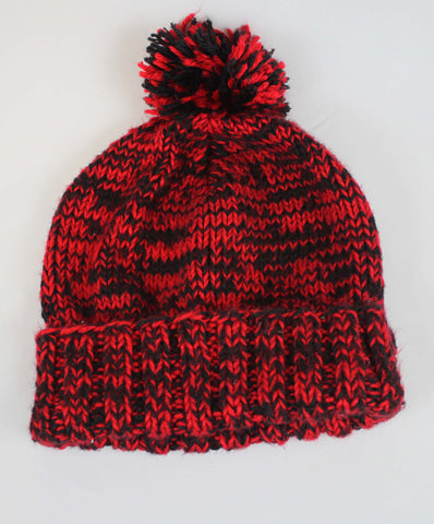 Hand Knit Black and Red Poof Ball Hat L - Steeze Clothing