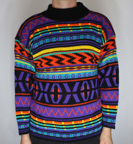 Vintage 80s/90s Croquet Club Multi Colored Awesome Patterned Sweater L fits M - Steeze Clothing
