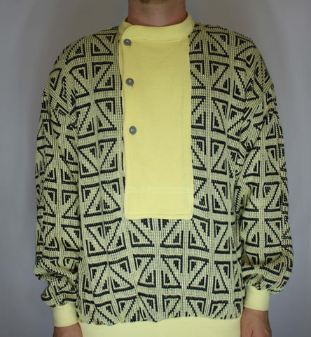 Vintage 80s Tom Taylor Yellow Geometric Button Up Flap Sweater M - Steeze Clothing