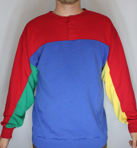 Vintage Color Block 4 Color Sweatshirt Boundary Waters XL but fits L - Steeze Clothing