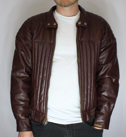 Vintage El Toro Bravo Faux Leather Tailored Biker Jacket Size 40 - Steeze Clothing