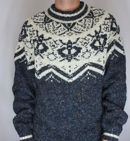 Vintage Blue and White Fair Isle Nordic Sweater L - Steeze Clothing