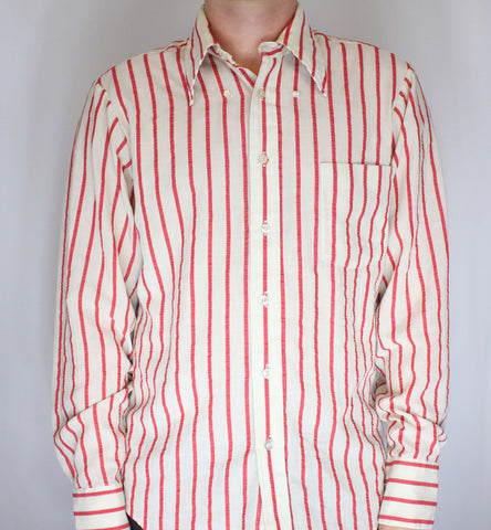 Vintage JC Penny Towncraft Red Striped Candy Cane Shirt L - Steeze Clothing