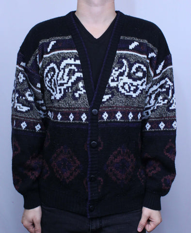Vintage Expressions Sweater Cardigan Sweater M - Steeze Clothing