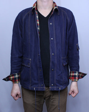 Vintage Plaid Accented Jean Jacket L - Steeze Clothing