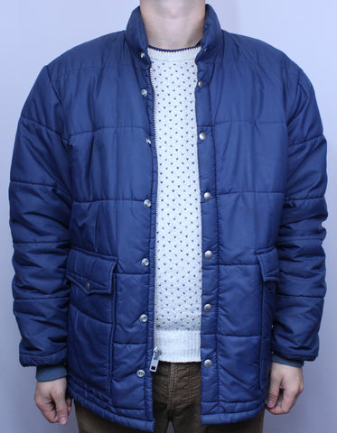 Vintage 70's David James Blue Puffy Jacket/Coat w/ Snaps L - Steeze Clothing