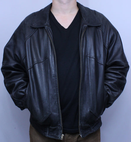 Vintage Black Pierre Cardin Genuine Leather Jacket S but fits more like M - Steeze Clothing