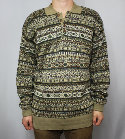 Vintage Tricots St. Raphael Sweater/Polo Shirt Hybrid L - Steeze Clothing