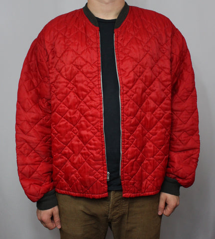 Vintage Red Quilted Coat/Jacket Faded Collar & Sleeves Tag XL - Steeze Clothing