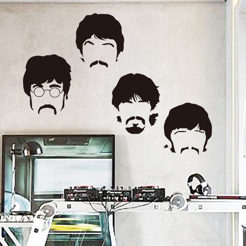 Art design cheap vinyl home decoration Beatles wall sticker cartoon removable house decor British musician wall decal in bedroom Brown / Big   58cm x 73cm art-design-cheap-vinyl-home-decoration-beatles-wal