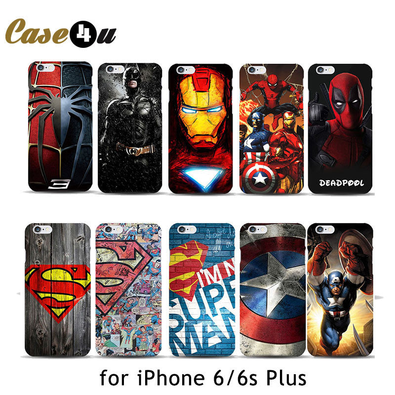 Deadpool Marvel comic superhero Phone Case for iPhone 6 6s Plus 4.7 5.5 inch Spiderman ironman 10 Designs 6 6s spider deadpool-marvel-comic-superhero-phone-case-for-iph