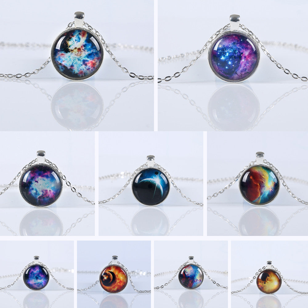2016 New Hot sale vintage necklace galaxy glass pendant plated chain necklace wonderful gift free shipping 9 2016-new-hot-sale-vintage-necklace-galaxy-glass-pe