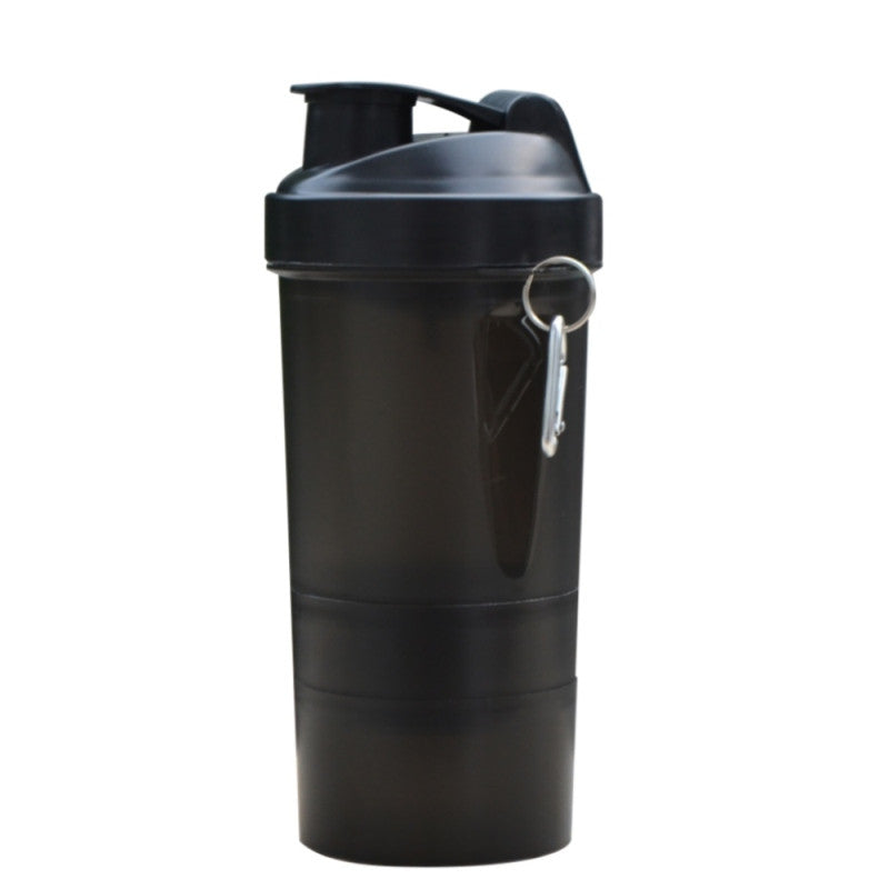 Protein shaker blender mixer cup home travel sports fitness gym 3 layers multifunction 500ml BPA free plastic my water bottle 500ML / Black protein-shaker-blender-mixer-cup-home-travel-sport