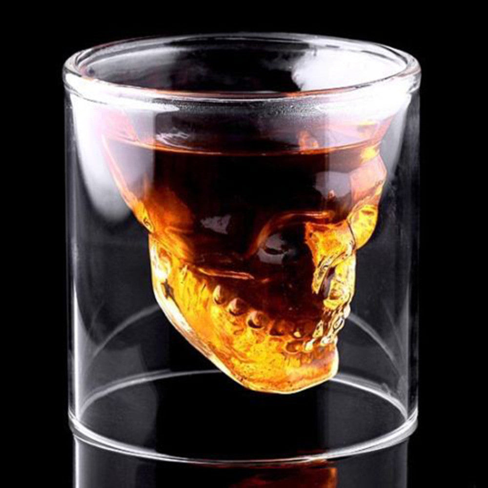 2016 New Creative Designer Skull Head Shot Glass Fun Doomed Transparent Party Doom Drinkware Gift for Halloween 4 sizes 250ml 2016-new-creative-designer-skull-head-shot-glass-f