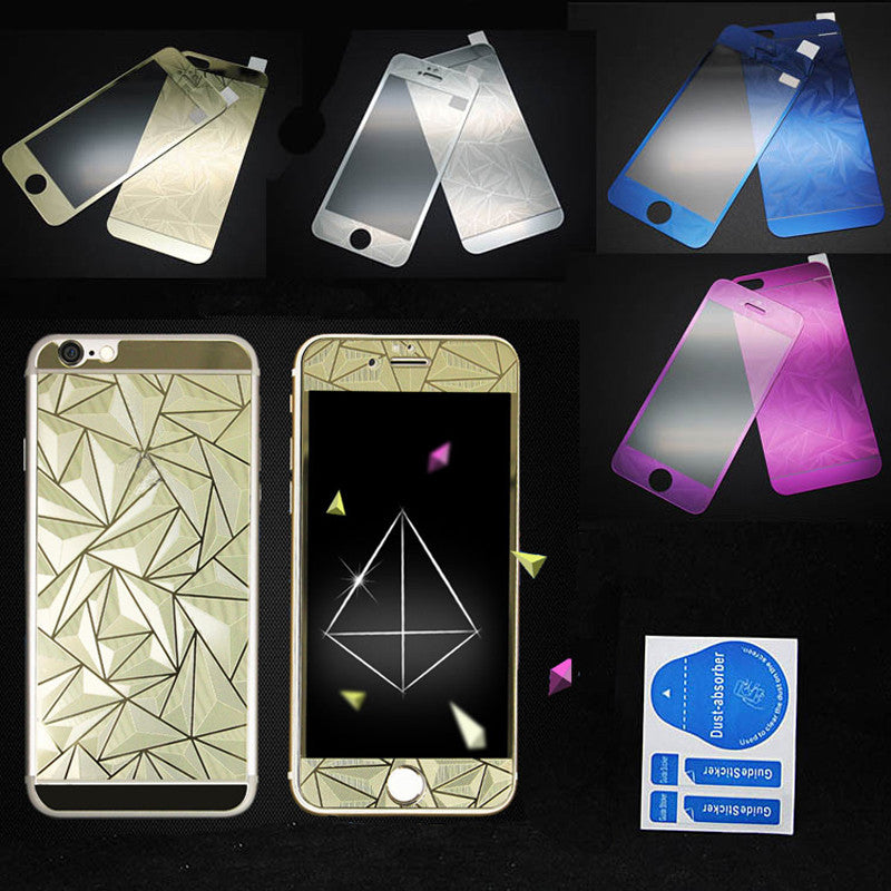 Front+Back Tempered Glass Mirror Effect Color + 3D Diamond Colorful Screen Protector Case Film for Iphone 4 4S 5 5S 6 6S Plus Silver 2 / for iPhone 6 6S front-back-tempered-glass-mirror-effect-color-3d-d