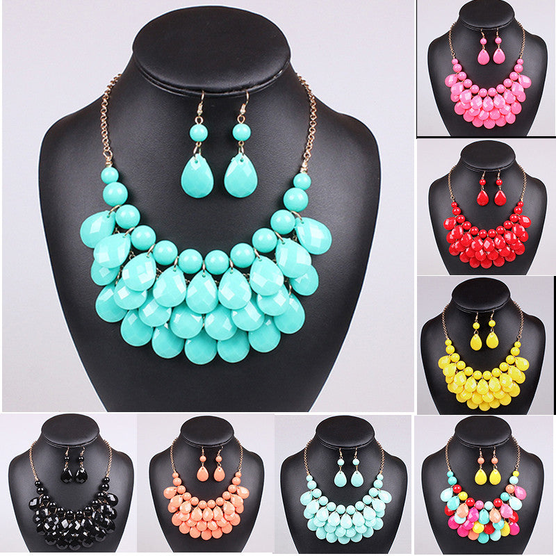 Hot Acrylic Bead Chokers Statement Necklaces 2016 Bib Bubble Necklace Earrings Jewelry Set Multi layer Jewellery Sets Collar Peach hot-acrylic-bead-chokers-statement-necklaces-2016-