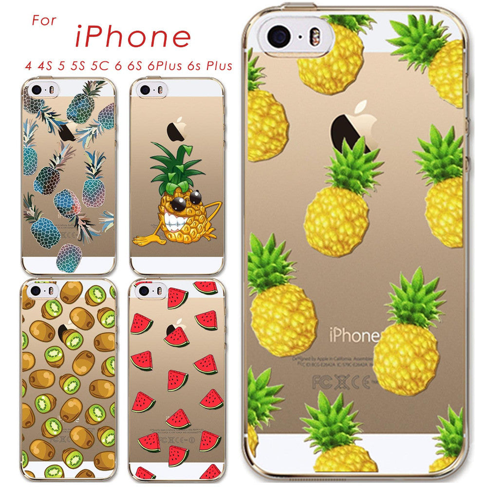 Thin Soft TPU Silicon Transparent Fruits Watermelon Pineapple Kiwi Case Cover For Apple iPhone 4 4S 5 5S 5C 6 6S 6Plus 6s Plus For iPhone 5c thin-soft-tpu-silicon-transparent-fruits-watermelo