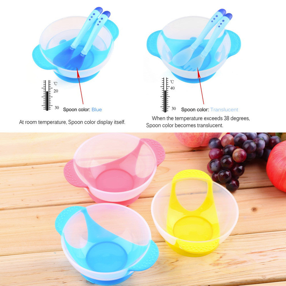 Baby Infants feeding Bowl With Sucker and Temperature Sensing Spoon Suction Cup Bowl Slip-resistant Tableware Set New Arrival Yellow baby-infants-feeding-bowl-with-sucker-and-temperat