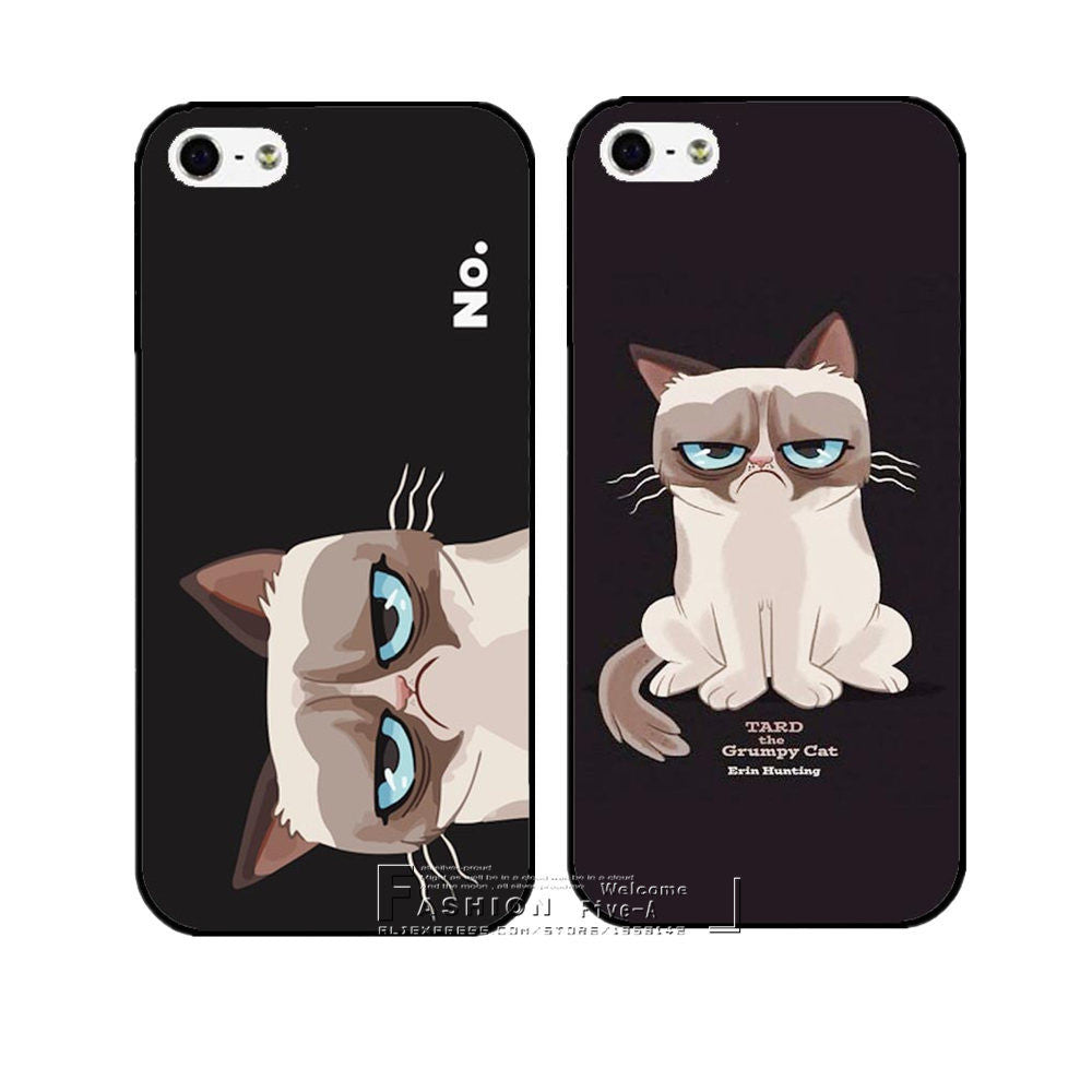 New Arrive Super Hot Grumpy Cute Cat Hard Case Cover for Apple iPhone 4 4S 4G 5 5S 5G SE 5C 6 6S Plus Free Shipping Shell 1 / For 6Plus 6SPlus new-arrive-super-hot-grumpy-cute-cat-hard-case-cov