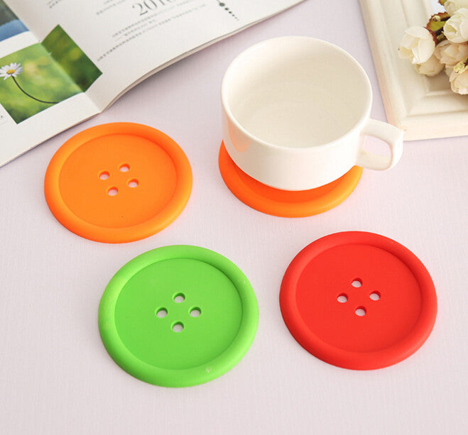 5pcs Silicone Cup mat Cute Colorful Button Cup Coaster Cup Cushion Holder Drink Cup Placemat Mat Pads Coffee Pad  5pcs-silicone-cup-mat-cute-colorful-button-cup-coa