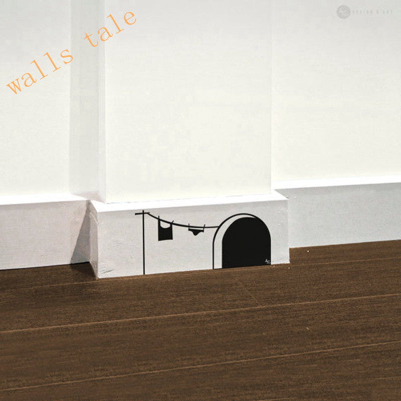 Free shipping New cute cartoon mouse home sticker wall decor Mouse Hole - Children Decor Vinyl Sticker Wall Decal  free-shipping-new-cute-cartoon-mouse-home-sticker-