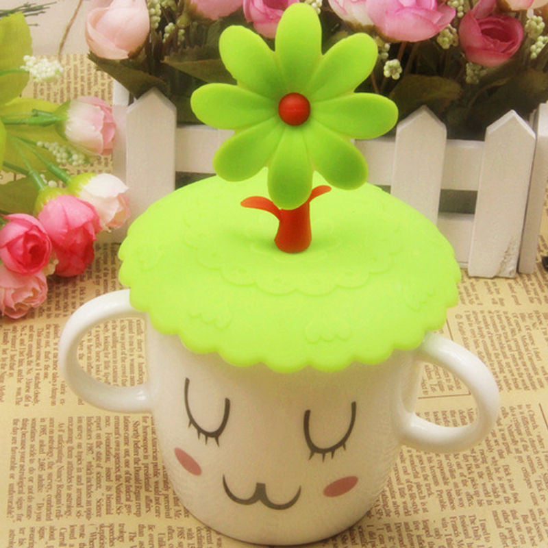 Cute Anti-dust Silicone Glass Cup Cover Coffee Mug Suction Seal Lid Cap Silicone Airtight Love Spoon Novelty  cute-anti-dust-silicone-glass-cup-cover-coffee-mug