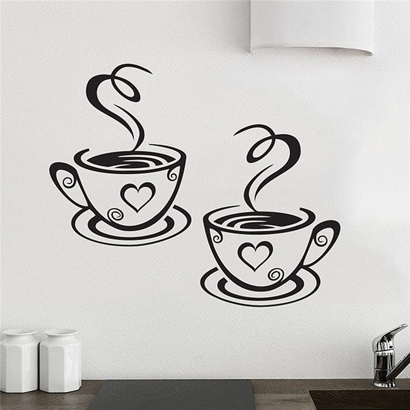 New Arrival Beautiful Design Coffee Cups Cafe Tea Wall Stickers Art Vinyl Decal Kitchen Restaurant Pub Decor  new-arrival-beautiful-design-coffee-cups-cafe-tea-