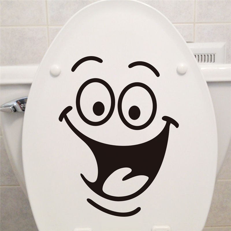 Smile face Toilet stickers diy personalized furniture decoration wall decals fridge washing machine sticker Bathroom Car Gift  smile-face-toilet-stickers-diy-personalized-furnit