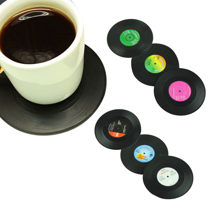 6 Pcs/ set Home Table Cup Mat Creative Decor Coffee Drink Placemat Tableware Spinning Retro Vinyl CD Record Drinks Coasters  6-pcs-set-home-table-cup-mat-creative-decor-coffee