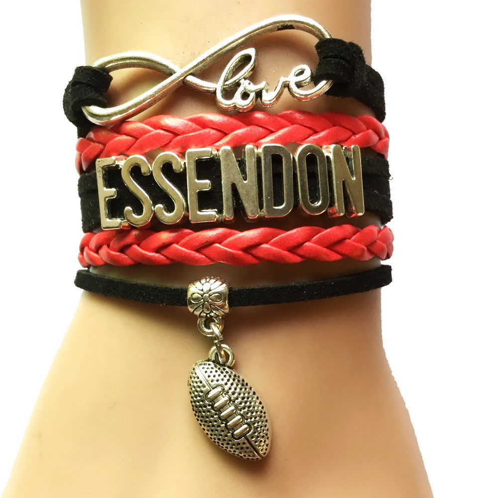Drop Shipping Infinity Love Essendon  AFL Football Team Bracelet-Customized Cheering Club Sports Jewelry Leather Wrapped  drop-shipping-infinity-love-essendon-afl-football-