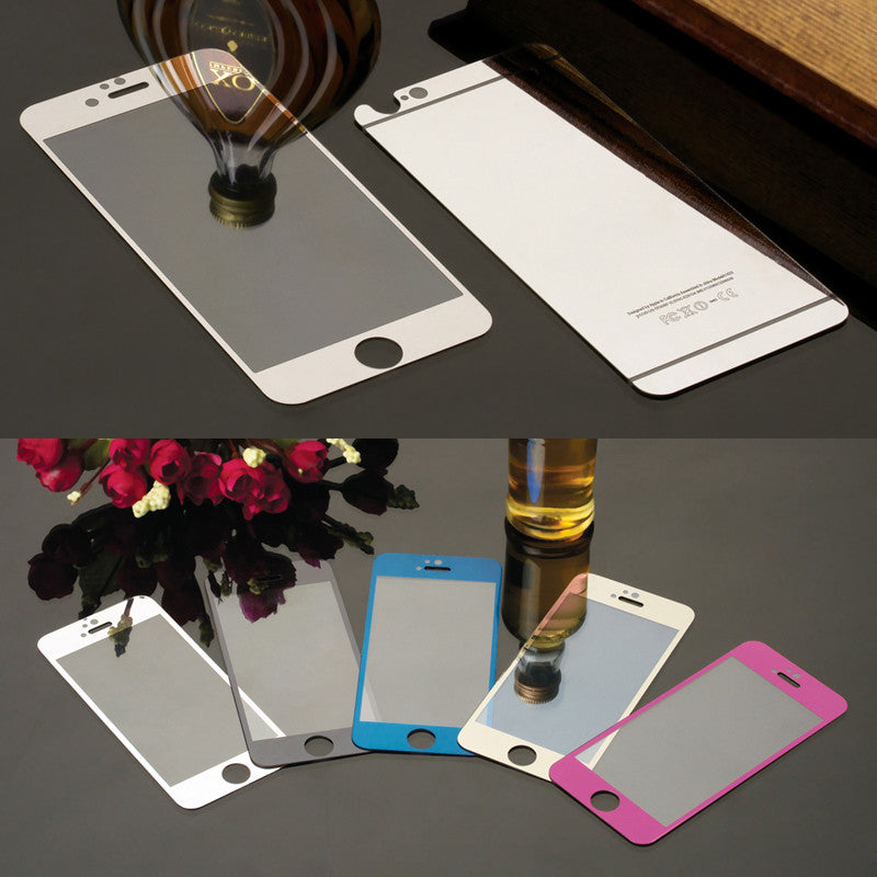 Colorful Tempered Glass Film For iphone 4 4s 5 5s 6 6s 6Plus Screen Protector Metal Plating Mirror Film 2PCS Front + Back For 6Plus  Black colorful-tempered-glass-film-for-iphone-4-4s-5-5s-