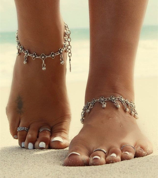 Free Shipping Fashion Vintage Ancient Silver Plated  Bead Anklets Beach Barefoot Sandals Foot  Jewelry Anklets For Women  free-shipping-fashion-vintage-ancient-silver-plate
