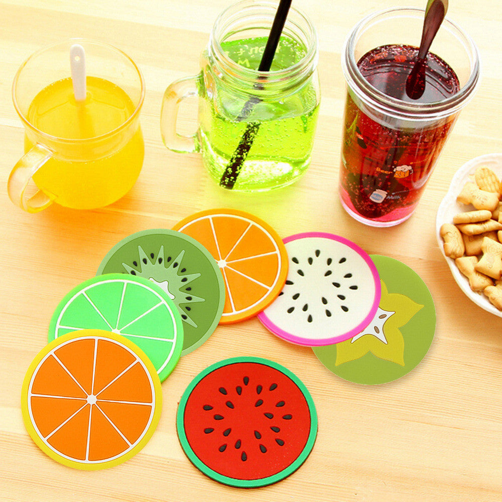 1pcs Colorful Jelly Color Fruit Shape Coasters Creative Skid Insulation Silicone Gel Cup Mat Pad Hot Drink Holder Drop Shipping Lemon 1pcs-colorful-jelly-color-fruit-shape-coasters-cre