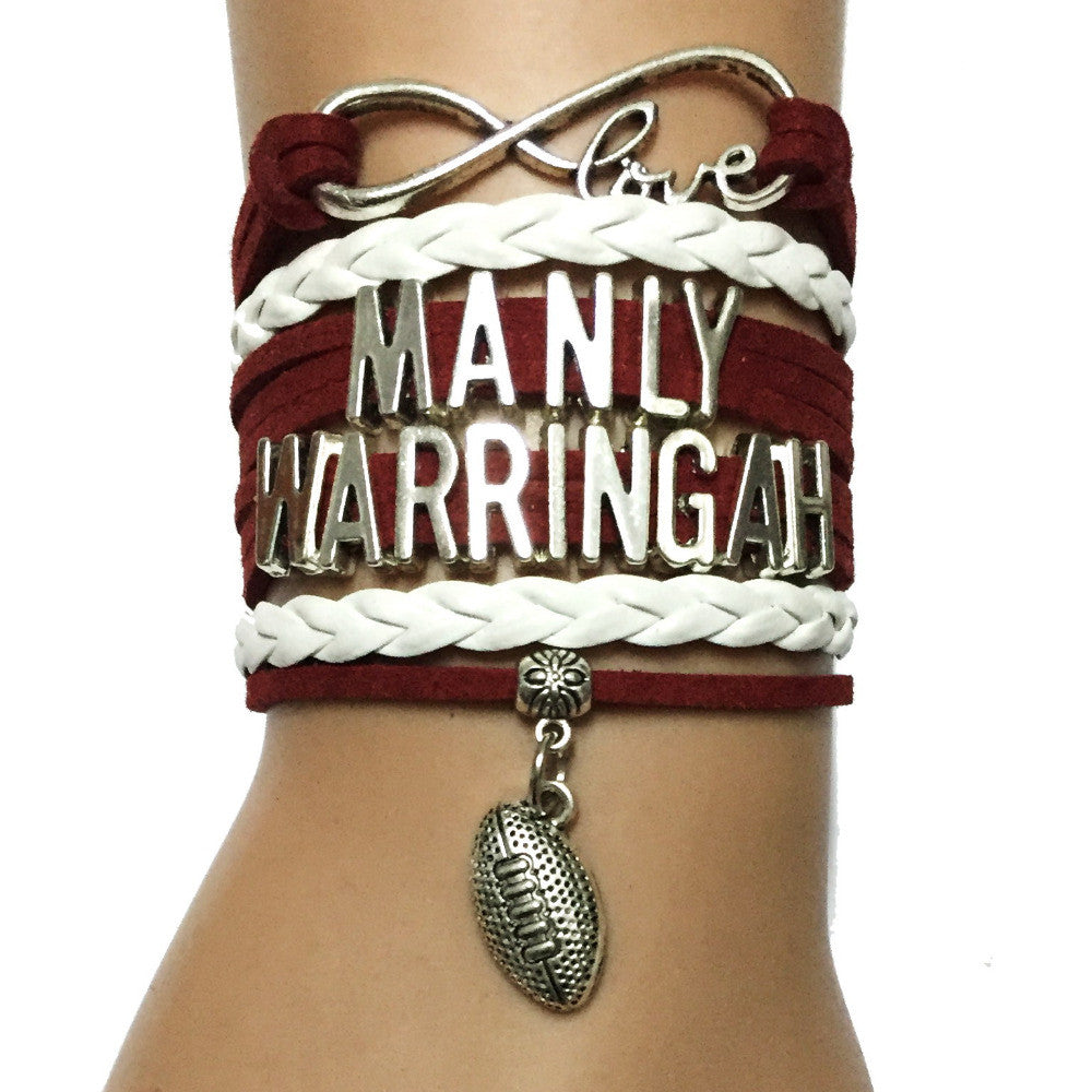Drop Shipping Infinity Love Manly Warringah Football Bracelet-Burgundy White Leather Wrap NRL Australian Football Team Gift  drop-shipping-infinity-love-manly-warringah-footba