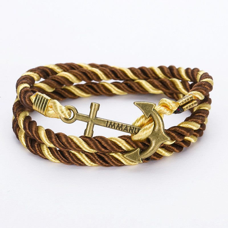 2016 New Arrive DIY Rope Black Blue Anchor Bracelet Fashion Women Men Hooks Bracelet Wholesale Bangle Charm Bracelets Jewelry 19 black red green 2016-new-arrive-diy-rope-black-blue-anchor-bracele