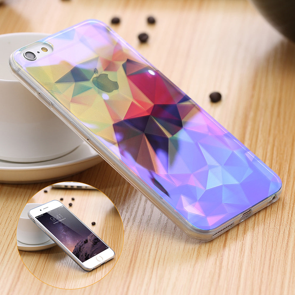 Modern Blue Ray Light Clear Mobile Phone Case For iPhone 6 6S 6 Plus 5.5 6S Plus Funny Pattern Transparent Cover For iPhone 6 6S 6 / For iPhone 6 6S Plus modern-blue-ray-light-clear-mobile-phone-case-for-