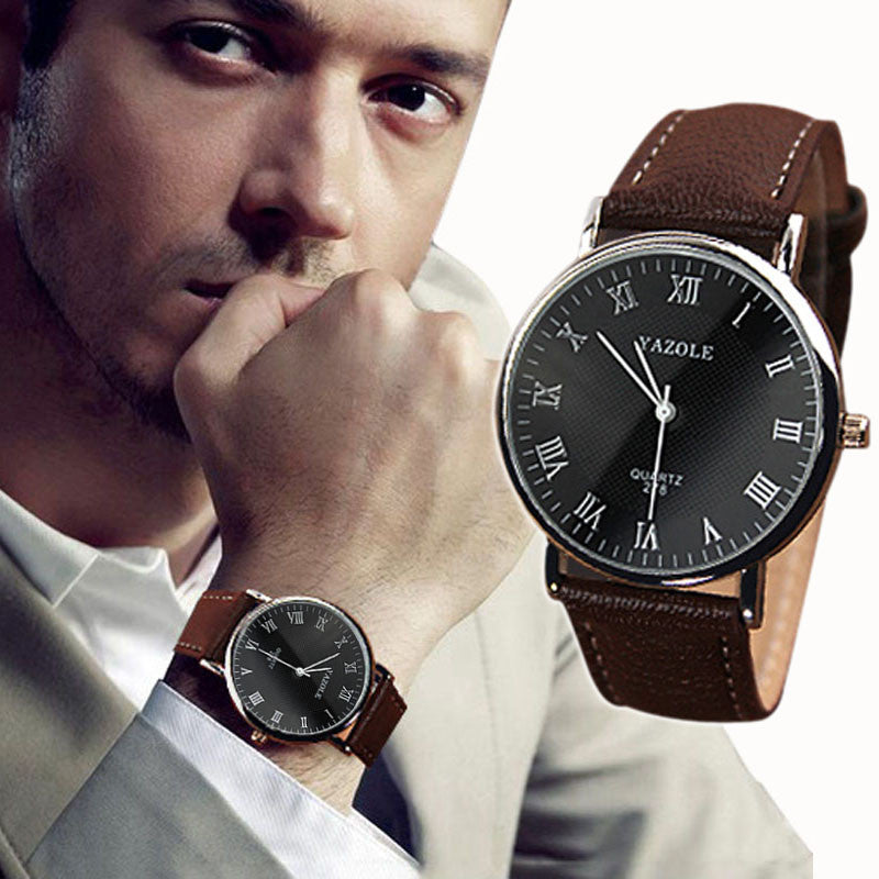 New Arrival Luxury Fashion Roman Numerals Brown Faux Leather Analog Quartz Wrist Watch Mens Hot  new-arrival-luxury-fashion-roman-numerals-brown-fa