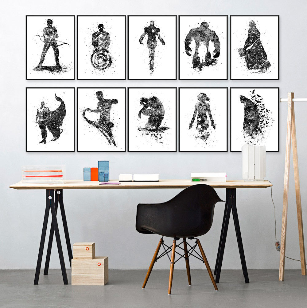 Original Watercolor Black White Superhero Avenger Batman Movie Art Print Poster Wall Picture Canvas Painting Kids Room Home Deco 13x18 cm No Frame / Batman original-watercolor-black-white-superhero-avenger-