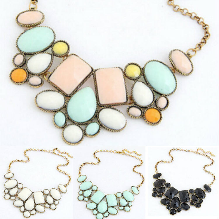 Multicolor Vintage Womens Resin Bubble Collar Chain Chokers Bib statement necklace 2016 1 multicolor-vintage-womens-resin-bubble-collar-chai