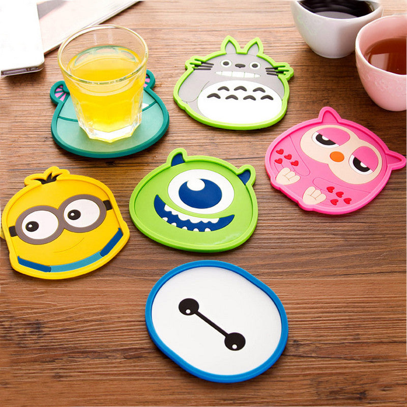 1pcs Cute Anime  Silicone Coffee Placemat Cartoon Drink Coaster Cup Glass Beverage Holder Pad Mat MF76 Peach 1pcs-cute-anime-silicone-coffee-placemat-cartoon-d