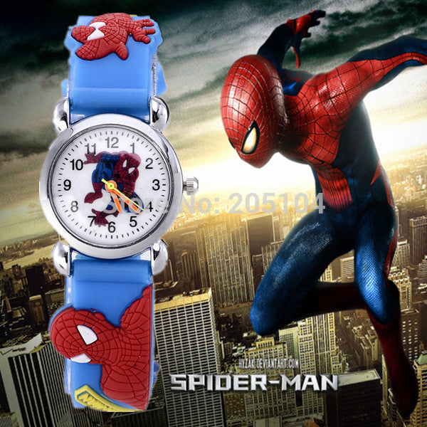 hot sale fashion cute spiderman cartoon watch kids watches children watch boy cool 3d rubber strap quartz-watch clock hour gift Light blue hot-sale-fashion-cute-spiderman-cartoon-watch-kids